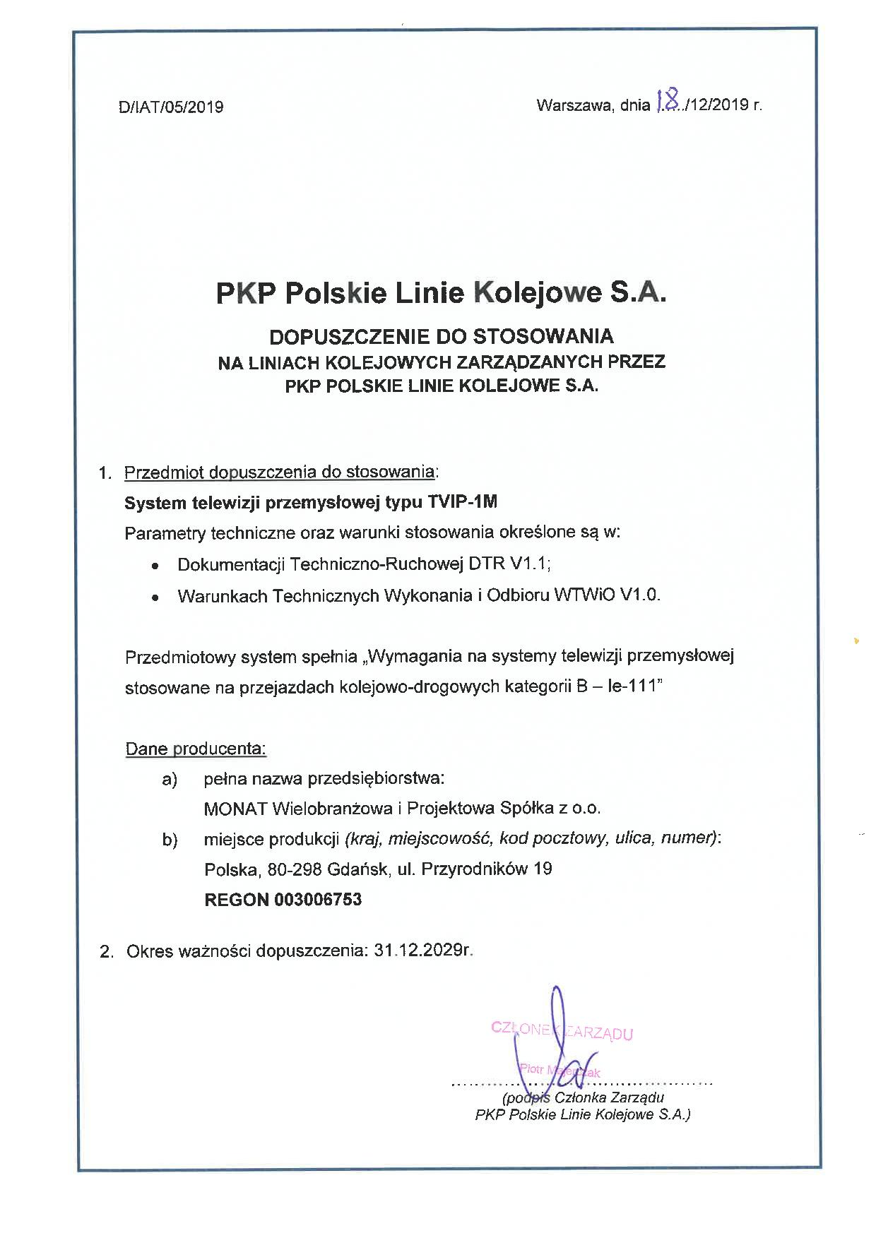 PKP PLK approval for CCTV system (cat. B) produced by MONAT